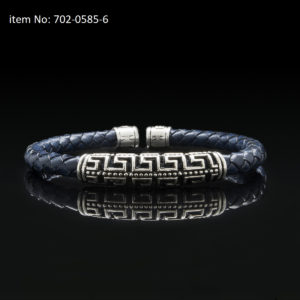 Bracelet with Sterling Silver double Greek key motif and 5mm braided genuine blue leather