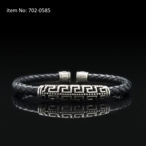 Bracelet with Sterling Silver double Greek key motif and 5mm braided genuine leather