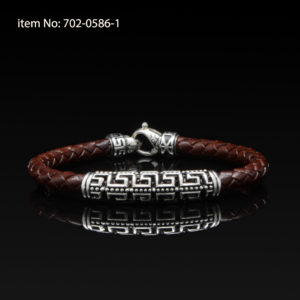 Sterling Silver bracelet with double Greek key motif and braided brown genuine leather