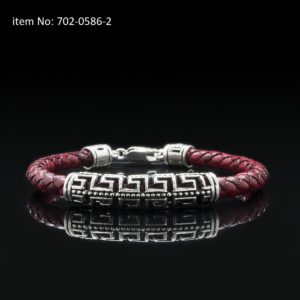 Bracelet with Sterling Silver double Greek key motif and 5mm braided genuine red leather