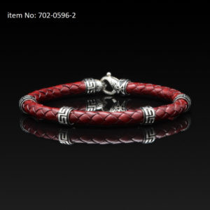 Bracelet with Sterling Silver with greek motifs and braided red genuine leather