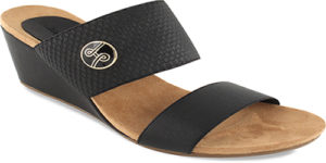 "Emily Black 2 3/4"" wedge with double elastic strap slide."