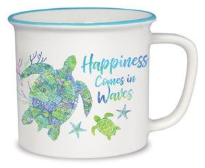 Cottage Mug - Happiness Comes in Waves