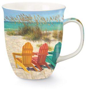 Harbor Mug - Beach Scene with Adirondack Chairs