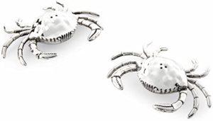 Mud Pie 4501005 Crab Salt and Pepper Shaker Set, Silver