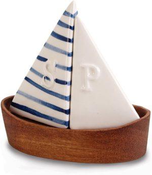 Mud Pie 4505009 Nautical Sailboat Salt and Pepper Shaker Set, Saiboat