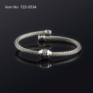 Sterling Silver Bracelet with Greek key motif and 4mm braided chain