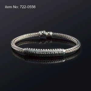 Sterling Silver Bracelet with Meanders motif and 4mm braided chain