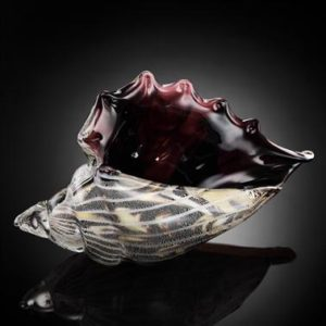 Art Glass Black and Clear Conch Shell