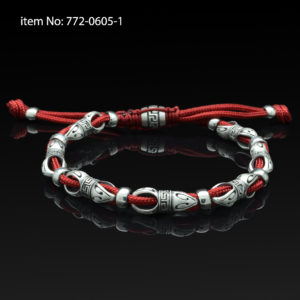 Sterling Silver Link and Red Cord Bracelet