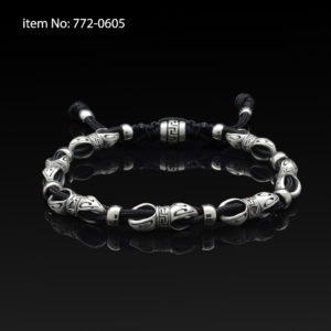 Sterling Silver Link and Cord Bracelet