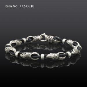 Sterling Silver Link and Black Cord Bracelet