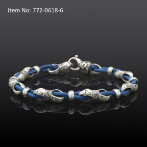 Sterling Silver Link and Blue Cord Bracelet