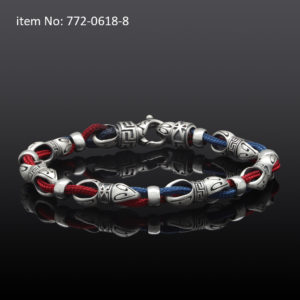 Sterling Silver Link and Blue-Red Cord Bracelet