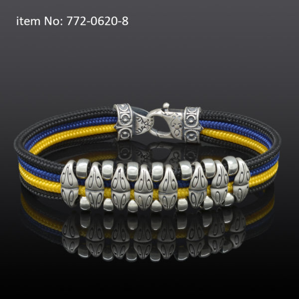 Sterling silver bracelet with motif washers and black-blue-yellow quadruple cord