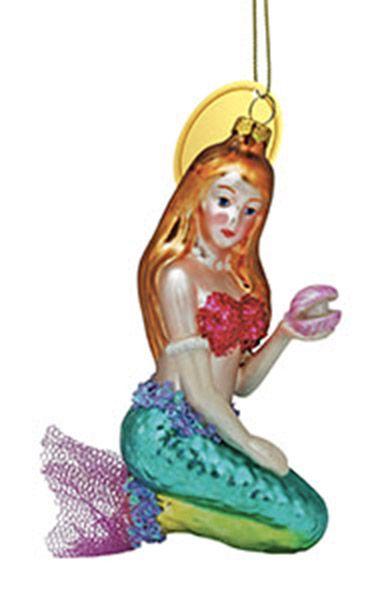 Blown Glass Ornament - Mermaid sitting