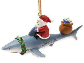 Resin Ornament - Santa & Shark