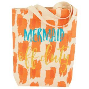Mud Pie Mermaid Off Duty Sentiment Canvas Tote Bag