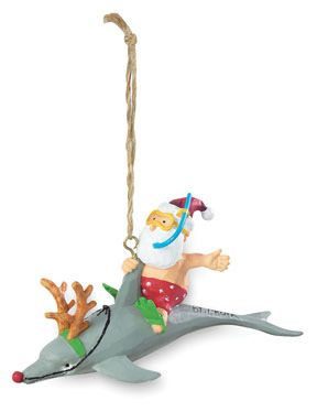Resin Ornament - Santa Riding Dolphin