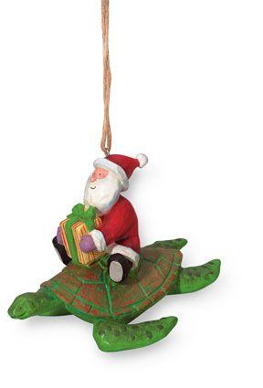 Resin Ornament - Santa on Sea Turtle