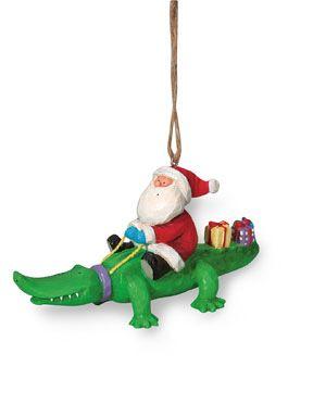 Resin Ornament - Santa on Alligator Gator