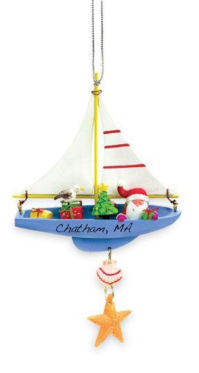 Resin Ornament - Santa in Sailboat