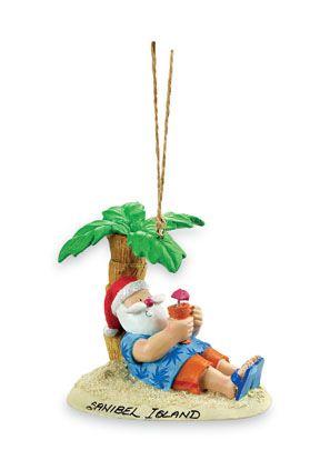 Resin Ornament - Santa Under Palm