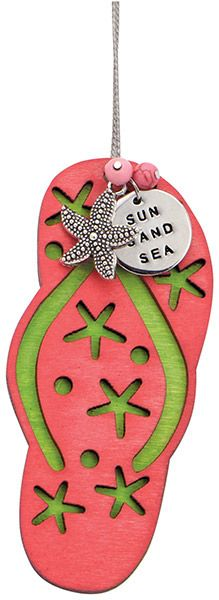 Wood Ornament with Metal Charms - Flip Flop - Sun Sand Sea