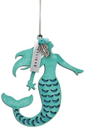Wood Ornament with Metal Charms - Mermaid