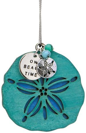 Wood Ornament with Metal Charms - Sand Dollar - On Beach Time