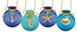 Frosted Glass Ball Ornament with Charms