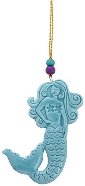 Stamped Ceramic Ornament - Mermaid