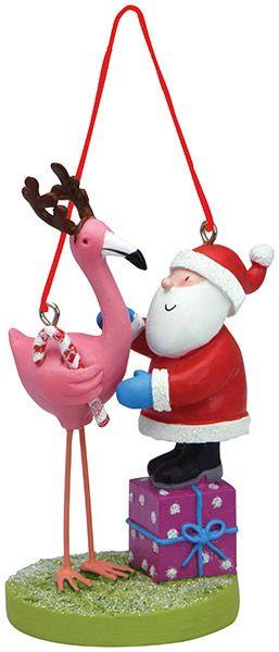 Resin Ornament - Santa with Flamingo