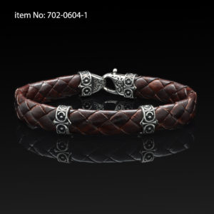 Sterling silver bracelet with Axion motif washers and braided brown leather