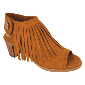 """Ansley Cognac Fringe 2"""" stacked heel pee-toe bootie with cognac suedecloth fringed upper switch flops by lindsay phillips"""