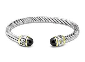 two tone Small Nouveau Wire Cuff Black