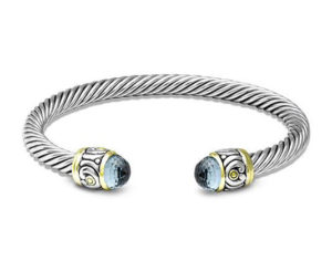Two tone Nouveau Wire Cuff Aqua