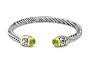 two tone Small Nouveau Wire Cuff Peridot