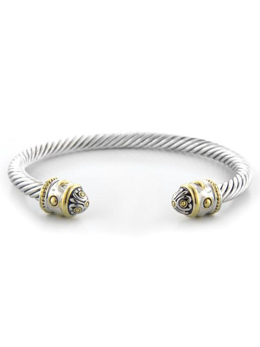 Two Tone Thin Wire open Cuff handcrafted by john medeiros