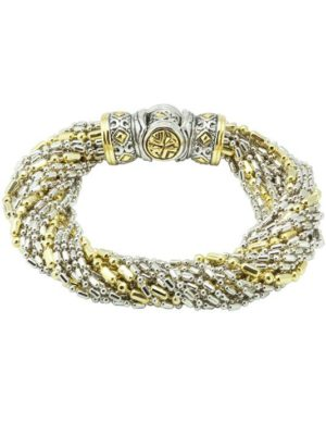 two tone Twisted Bead Collection 20 Strand Bracelet handcrafted in the USA by John medeiros