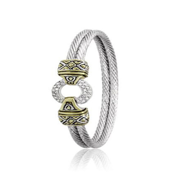 Two Tone Pave Circle Double Wire Bracelet