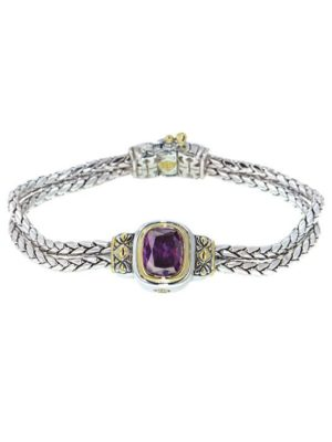 two Double Strand with Purple Oval Center Stone Bracelet handcrafted by john medeiros