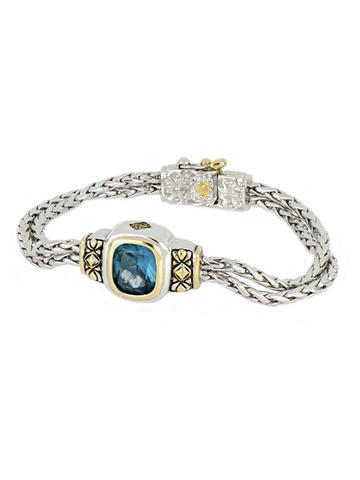 """6.5"""" Nouveau aqua stone Double Strand Oval Bracelet by John Medeiros Jewelry Collections **Extender Available** Handmade in USA"""