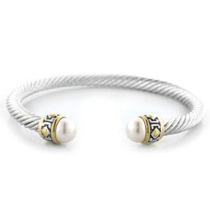 two tone Small Pearl Wire Cuff Bracelet