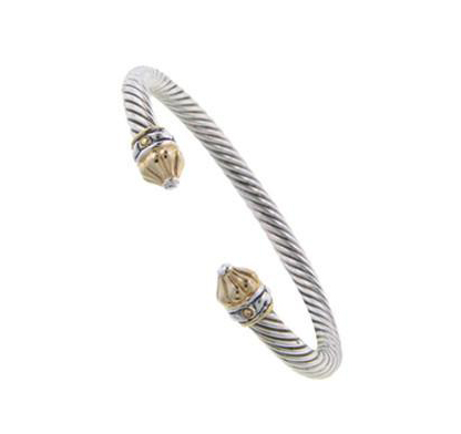 two tone thin open cuff bangle bracelet handcrafted by john medeiros
