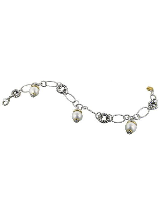 two tone link bracelet with pearl drops handcrafted by john medeiros