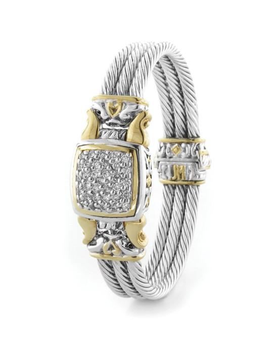 two tone with center pave square bracelet handcrafted by john medeiros