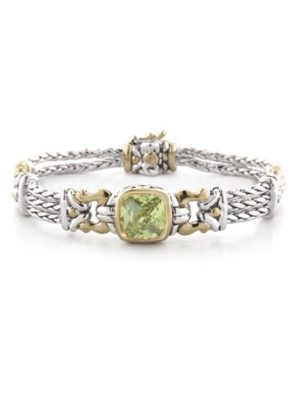two tone peridot Square Pave Triple Strand Bracelet handcrafted in the USA by john medeiros
