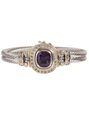 two tone center purple pave accented stone bracelet handcrafted by john medeiros