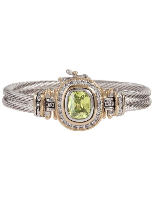 two tone peridot Pave Accented Oval Bracelet handcrafted in the USA by John Medeiros